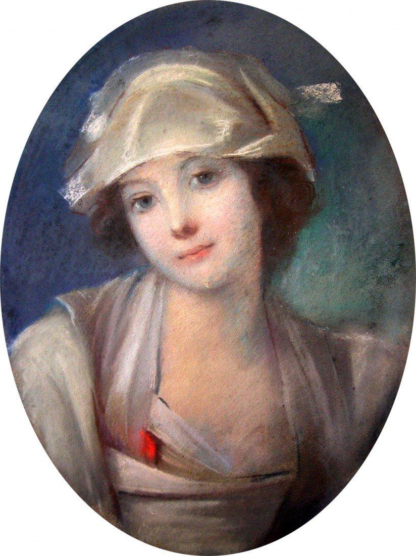 Att. Maurice Quentin De Latour Pastel Painting Portrait