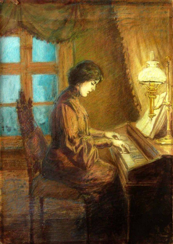 Federico Zandomeneghi Signed Painting Art Piano
