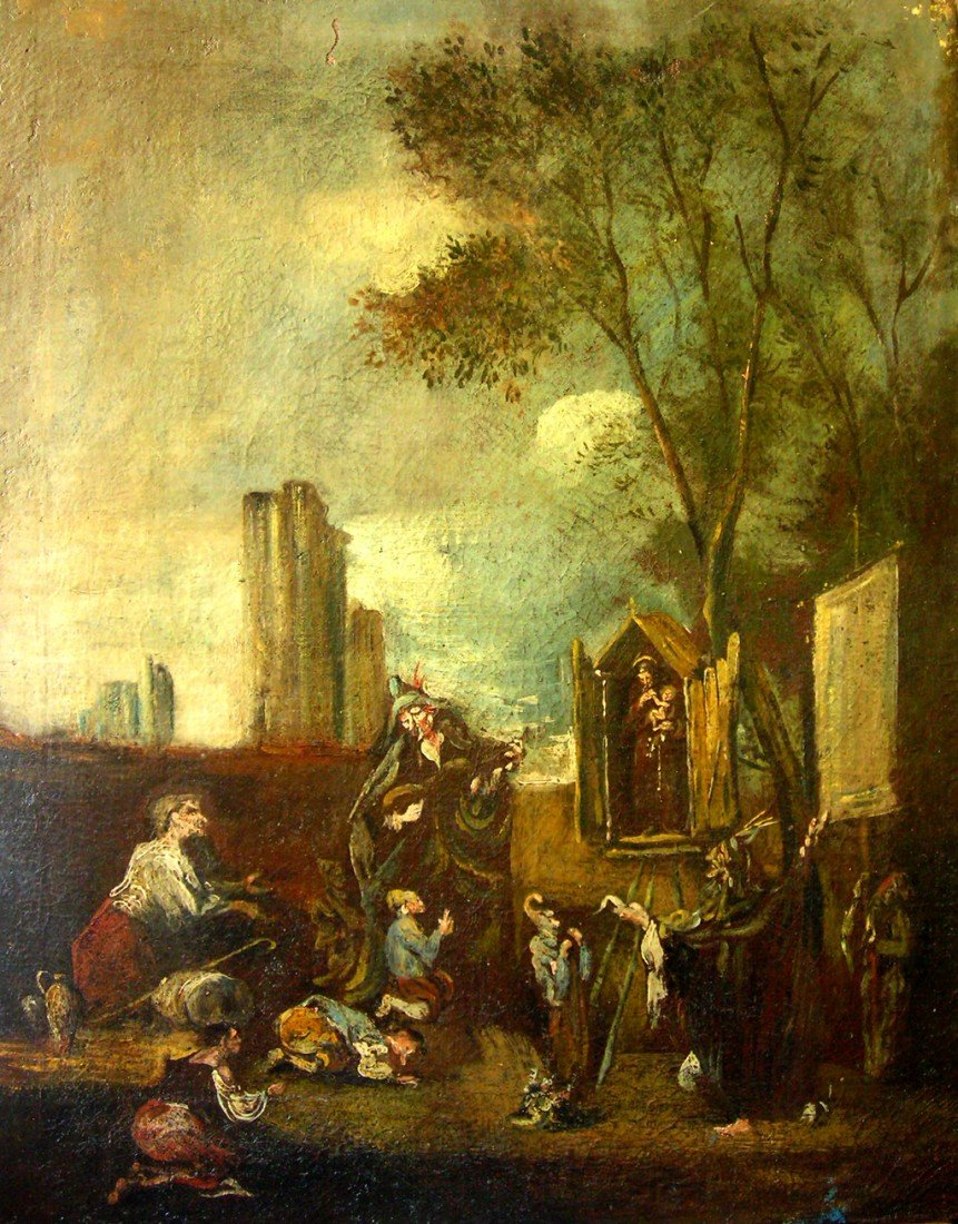 Old Italian Rococo Oil Painting from the 18th Century