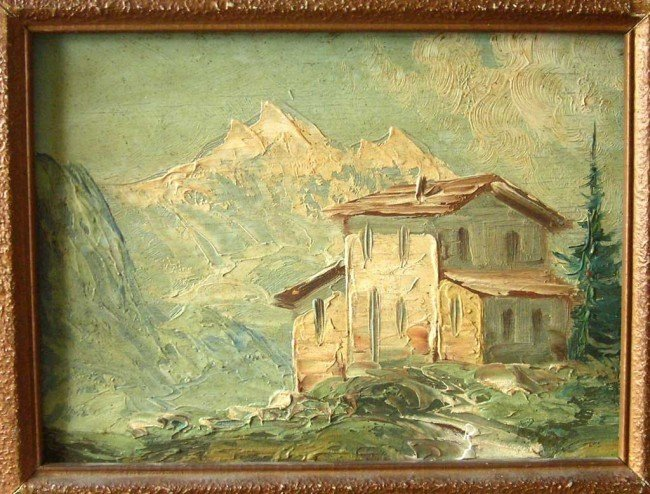 Lorenzo Delleani Oil Painting Original Mountain House