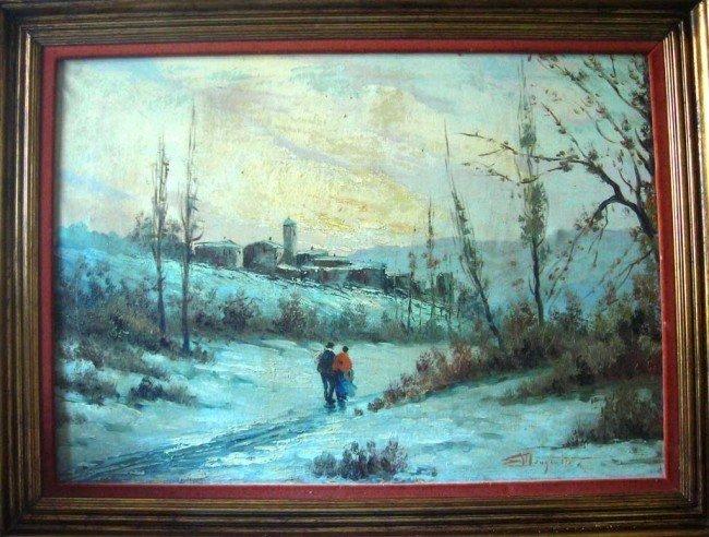 Ercole Magrotti Oil Painting Original Snow Landscape