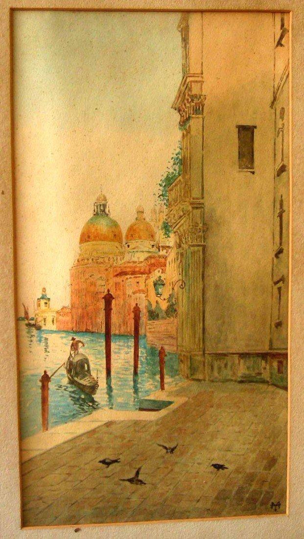 Thomas Moran Watercolor Original Art, City Canal