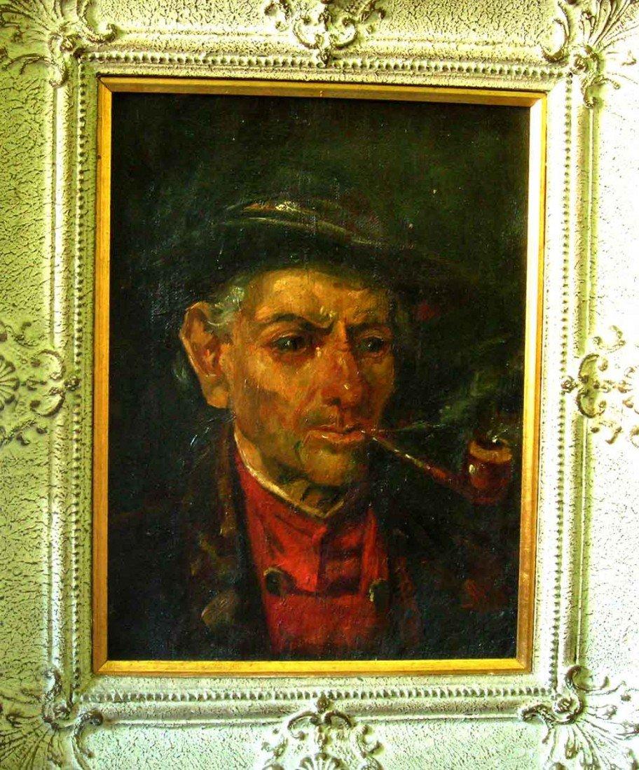 German 19th Century Oil Painting Original Art Smoker