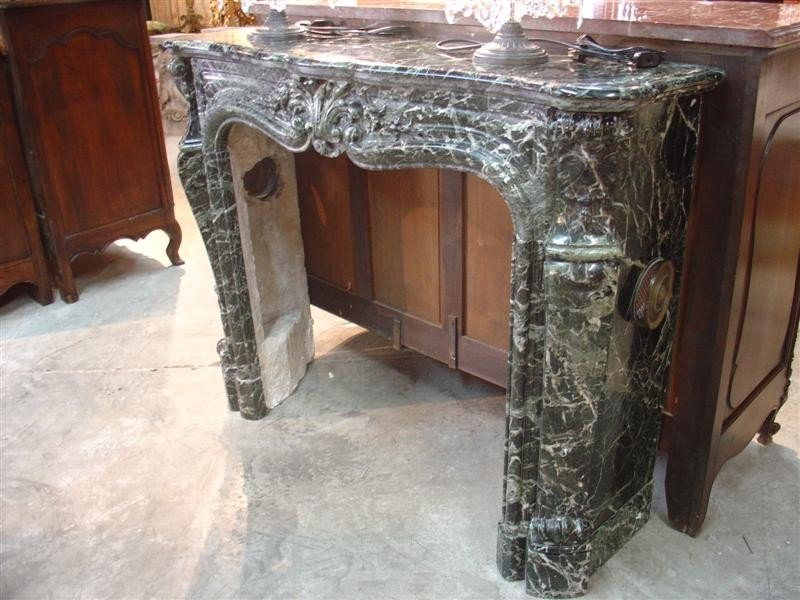 Antique Louis XV Style Verde Marble Fireplace Mantel