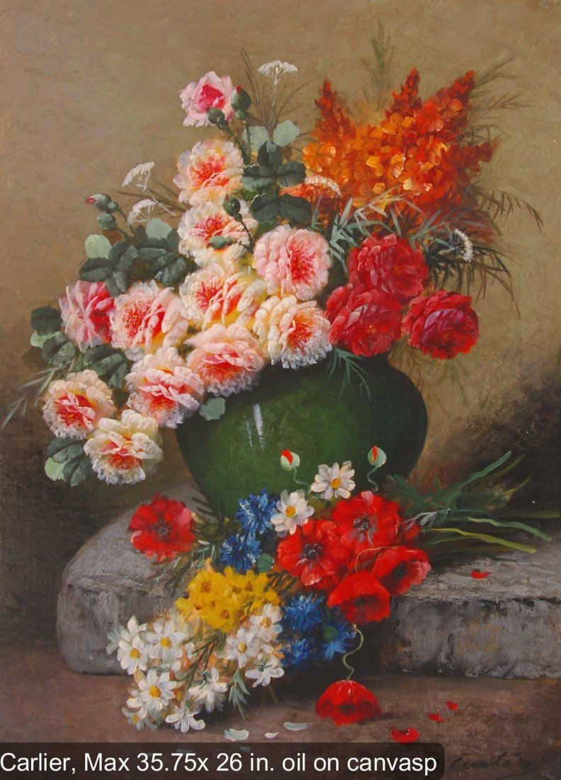 CARLIER Max Original Oil Painting Floral