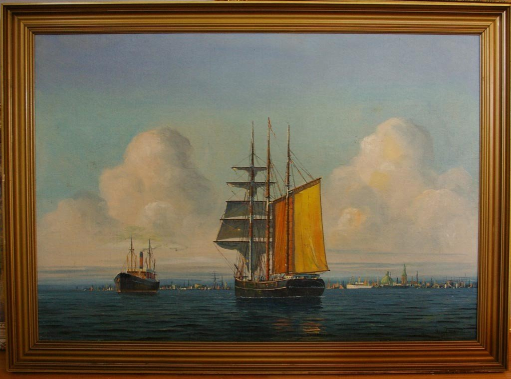 JENSEN Arup Oil Painting Original Art Copenhagen Harbor