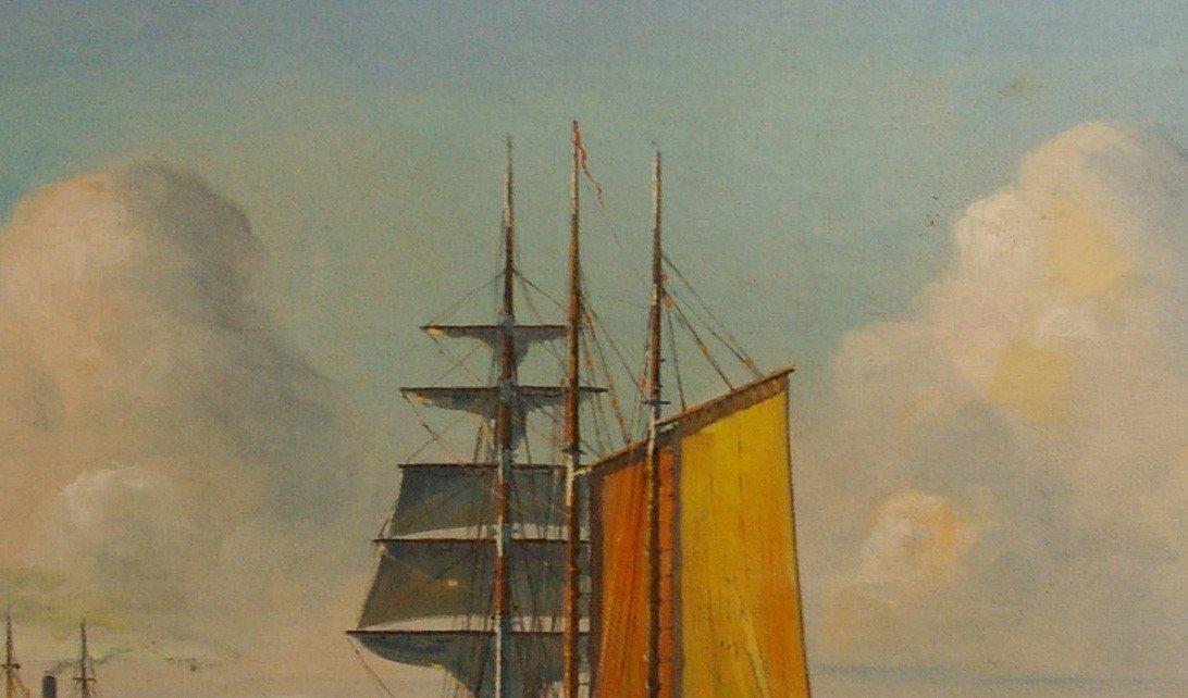 JENSEN Arup Oil Painting Original Art Copenhagen Harbor - 2