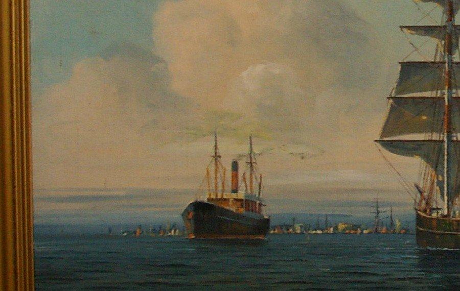 JENSEN Arup Oil Painting Original Art Copenhagen Harbor - 3