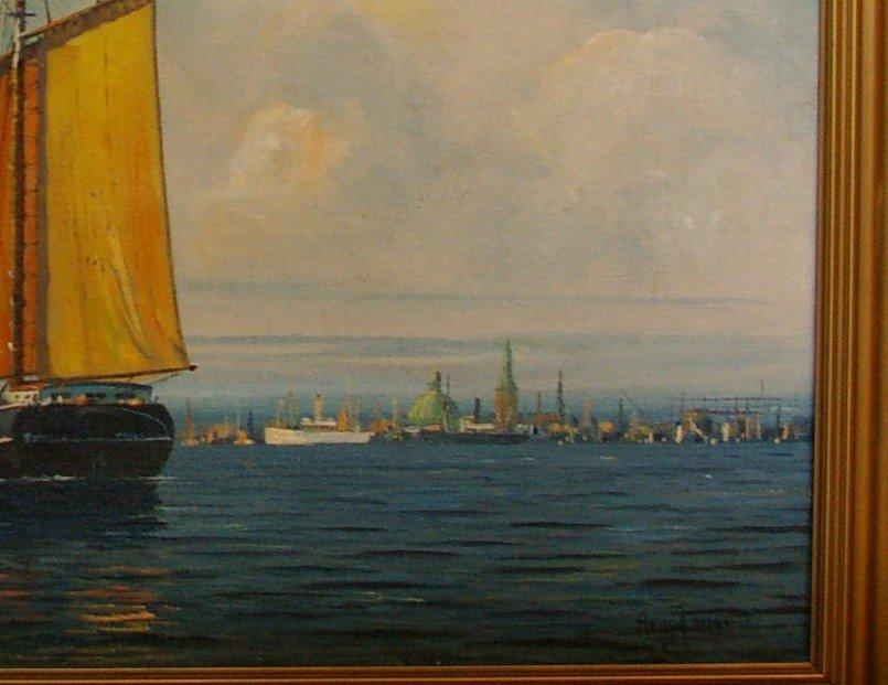 JENSEN Arup Oil Painting Original Art Copenhagen Harbor - 4