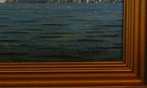 JENSEN Arup Oil Painting Original Art Copenhagen Harbor - 5