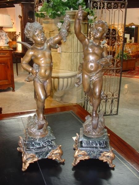 Pair of French Spelter Cherub Figures with Bronze Patin