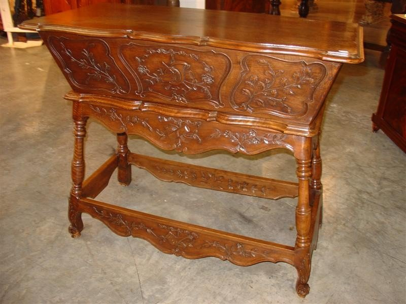 Hand Carved Walnut Wood Maie from France