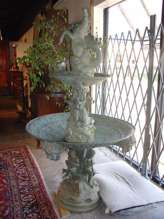 Antique French Bronze Two- Tier Fountain C. 1880