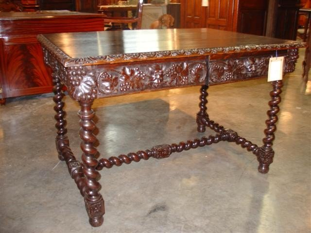 Louis XIII Style Walnut Wood Writing Table
