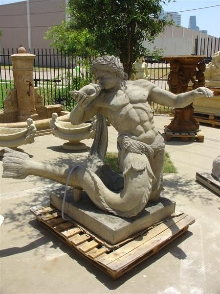 Cast Fountain/Pool Spout of TRITON, Greek Sea God-Franc