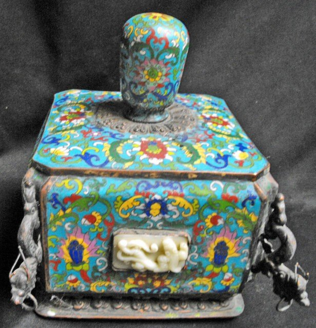 Antique Chinese cloisonne container formed of 2 parts - 4