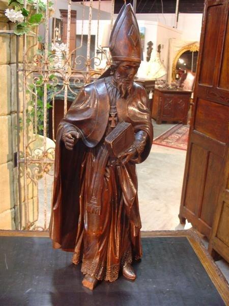 Antique Fruitwood Statue of Patron Saint Nicolas