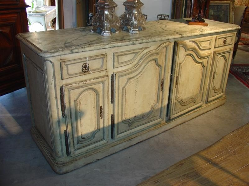 Louis XIV Style Painted Enfilade with Faux Marble Top-L