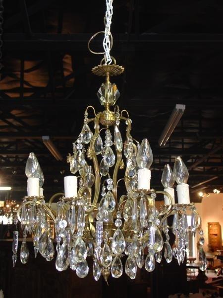 European Eight Light Crystal and Bronze Chandelier (US