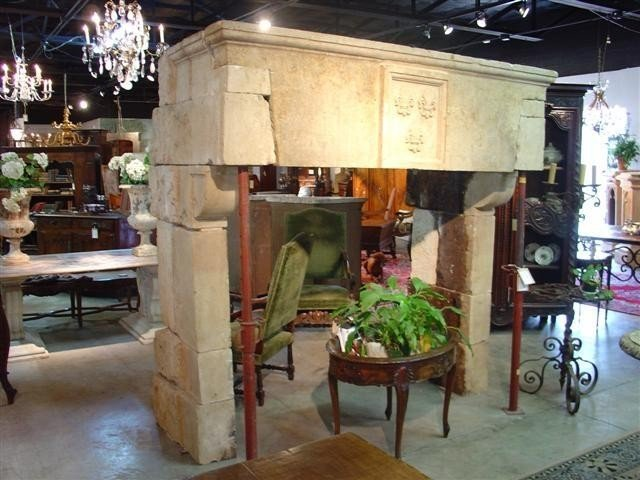 18th Century Limestone Fireplace Mantel from France-Loi