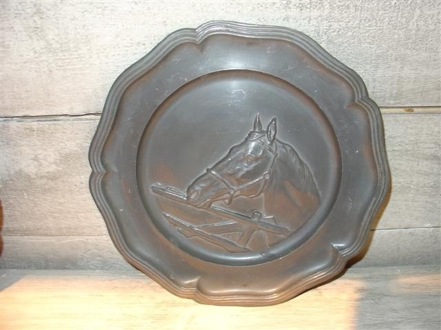 Decorative French Pewter Style Plate