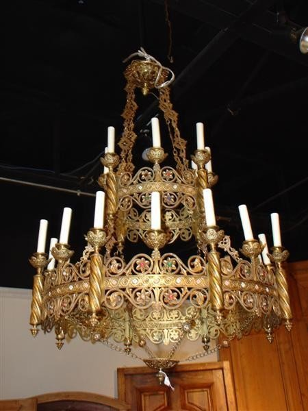 Tiered Reticulated Brass 24 Light Chandelier-Early 1900