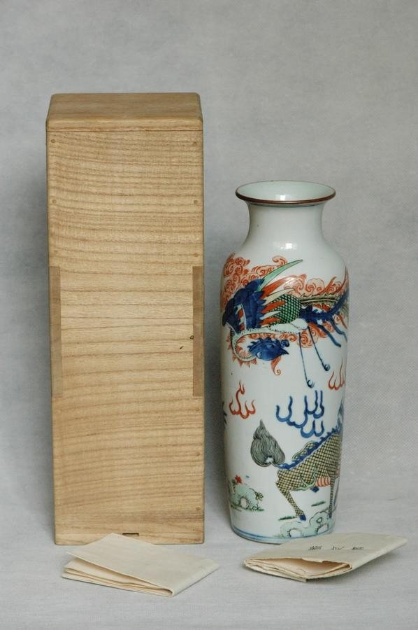 Chinese Qing Porcelain Wucai Vase w Phoenix , 19C