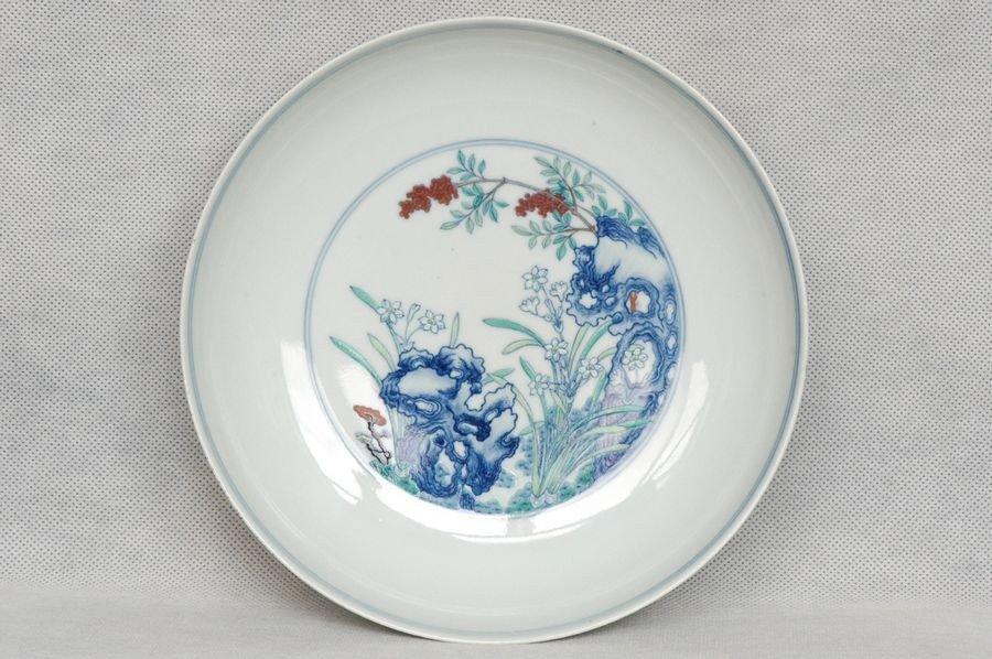Masterpiece Chinese Qing Doucai Plate Yongzheng Mark an