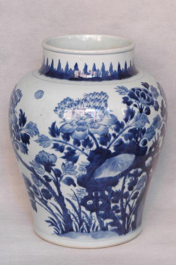 Masterpiece Large Chinese Qing Blue and White Jar Shunz