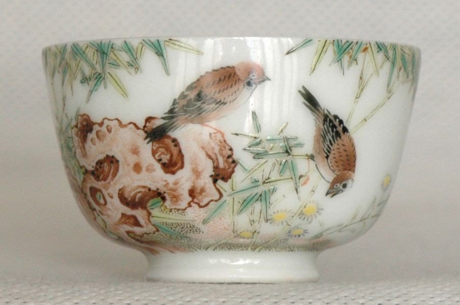 Chinese Enamelled Famille Rose Cup Republic Period Yong
