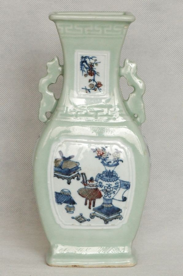 Chinese Qing Blue and Red Porcelain Vase Qianlong Mark