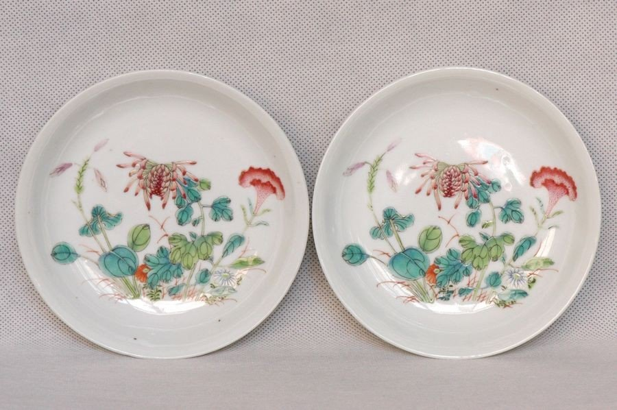 Pair of Chinese Qing Famille Rose Plates Guangxu Mark &