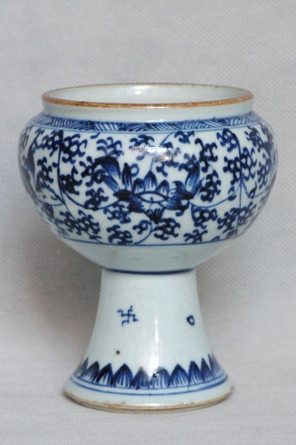 Chinese Qing Blue and White Porcelain Cup Kangxi , 17C - 3