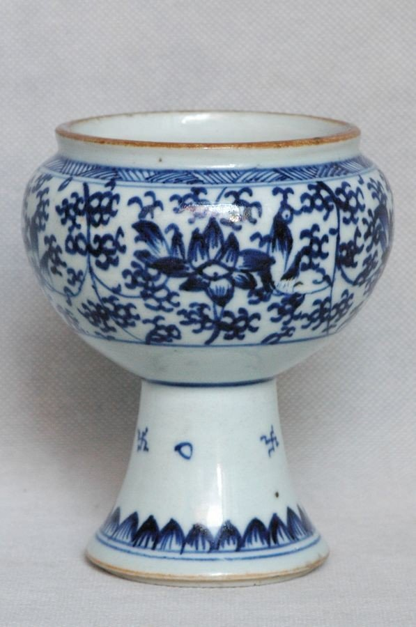 Chinese Qing Blue and White Porcelain Cup Kangxi , 17C - 4