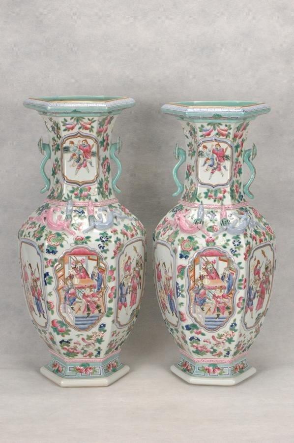 Pair of Huge Chinese Qing Porcelain Vase , 19C