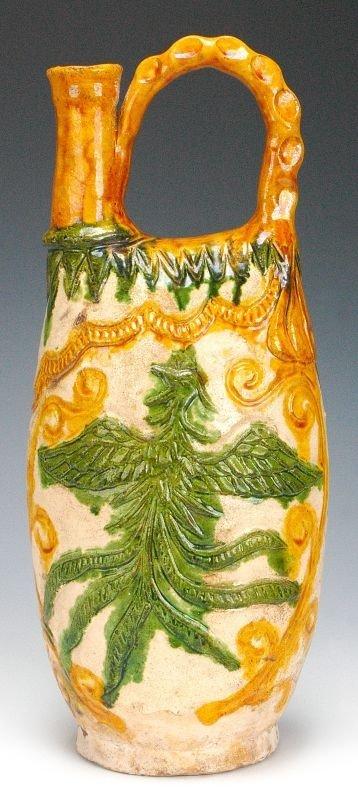 Masterpiece Chinese Liao Sancai Glazed Flask w Phoenix