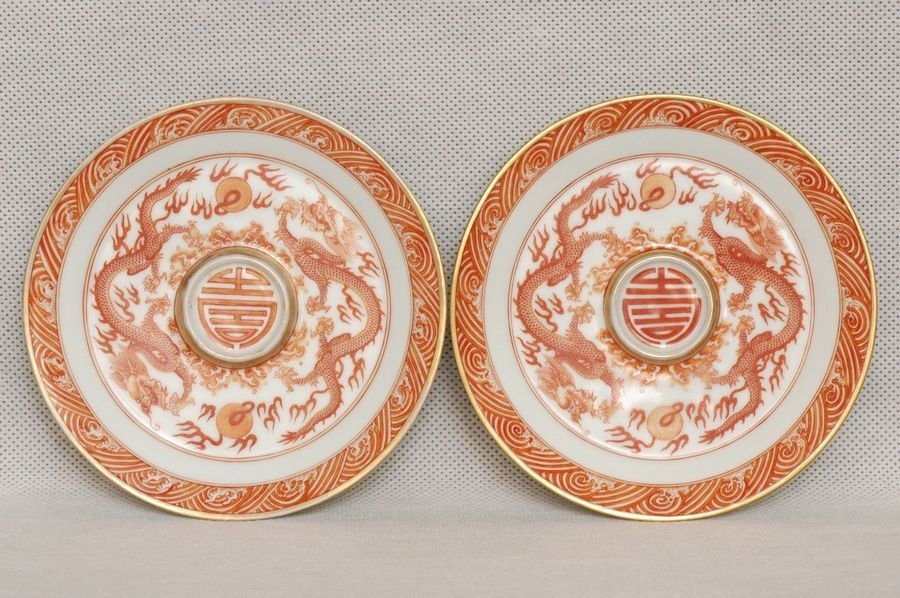 Masterpiece Pair of Chinese Qing Cup Stand Kangxi Mark