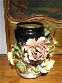 "Antique French Gros Relief Barbotine Vase-""Incurvee"""