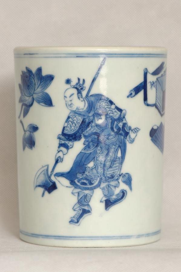 Chinese Qing Blue and White Porcelain Brush Pot Daoguan