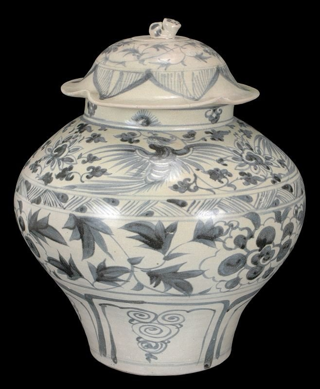 Masterpiece Chinese Yuan Blue and White Porcelain Jar,