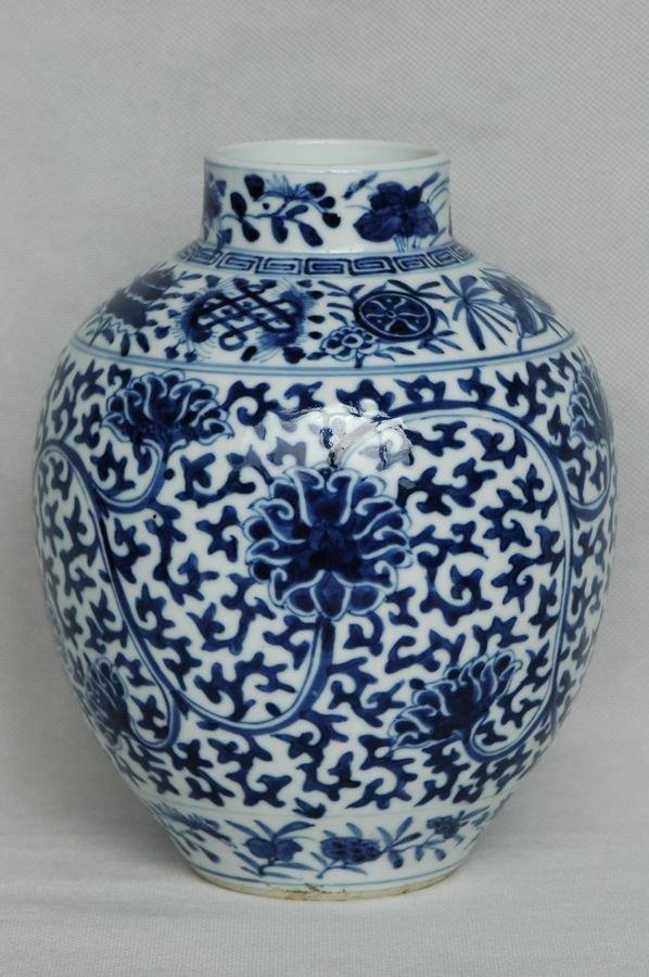 Chinese Qing Blue and White Jar Kangxi Mark 19C