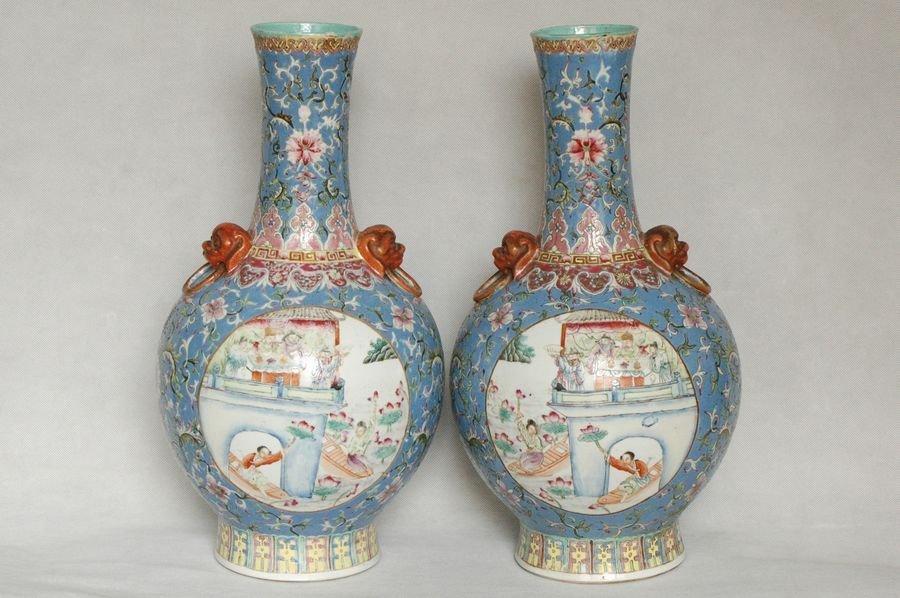 Pair Chinese Famille Rose Vase Qianlong Mark 19C