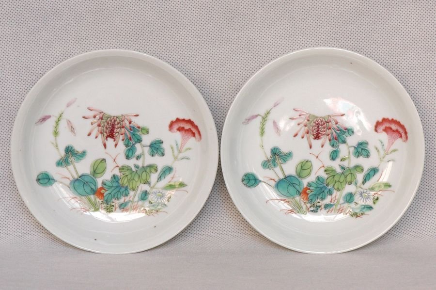 Pair of Chinese Plates Guangxu Mark & Period