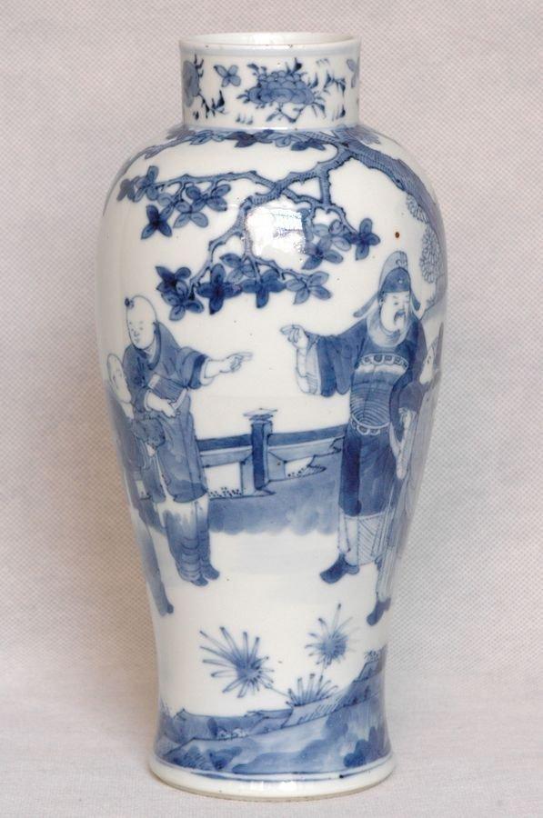 Chinese Qing Blue and White Vase Kangxi Mark 19C
