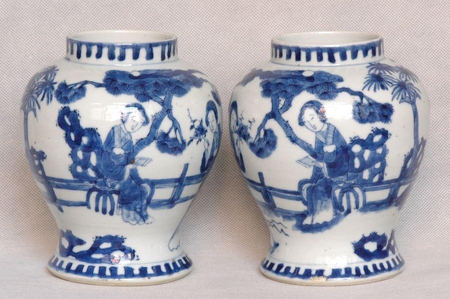 Pair Chinese Blue and White Jar Kangxi Mark 19C