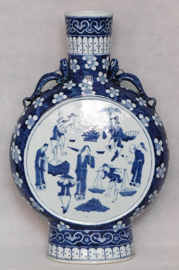 Chinese Blue and White Moon Flask Daoguang 19C