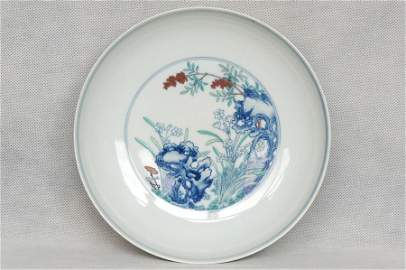 Masterpiece Chinese Qing Doucai Plate Yongzheng Mark an