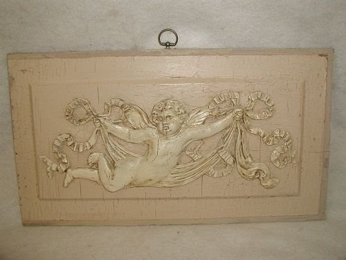 French Cherub Plaque 19th Century Hand Carved