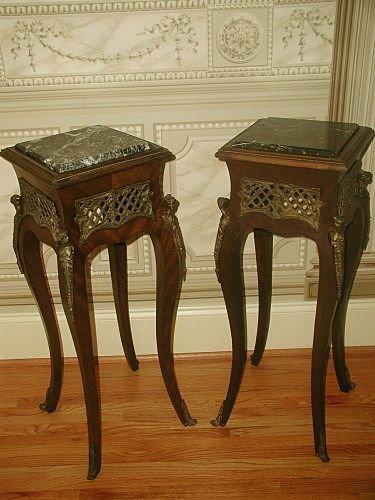 Marble Pedestal Tables France Mid 19th C Bronze Mounts