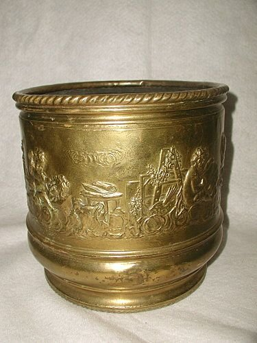Dutch Brass Planter Solid Mid 19th C Hand Forged Repous